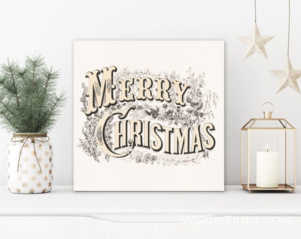 vintage merry christmas sign room