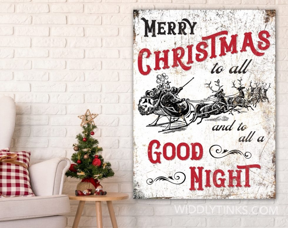vintage merry christmas to all holiday sign room