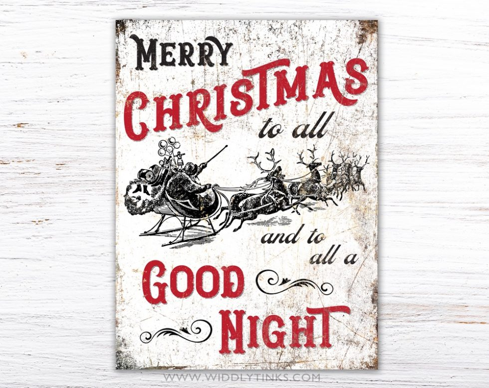 vintage merry christmas to all holiday sign simple