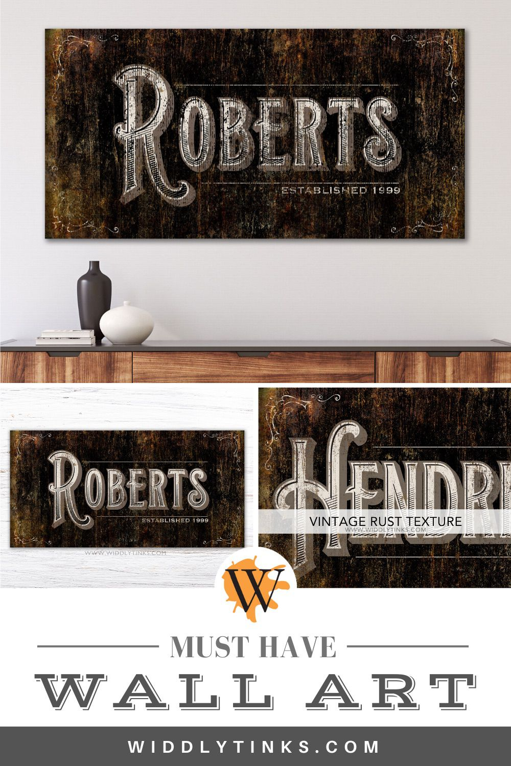 vintage rustic last name family sign