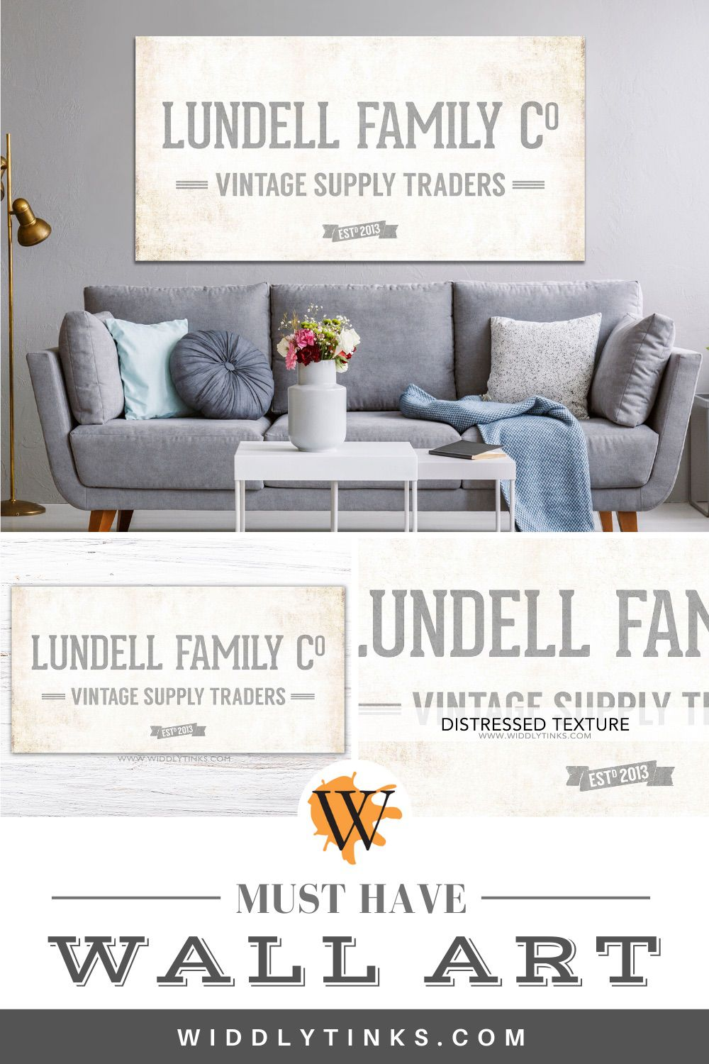 vintage supply co family sign grey