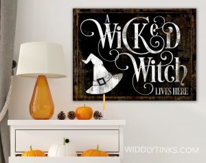 wicked witch halloween wall sign room scene black