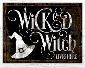 wicked lives here witch halloween wall sign