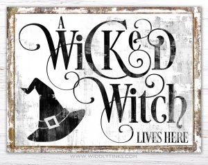 wicked lives here witch halloween wall art white