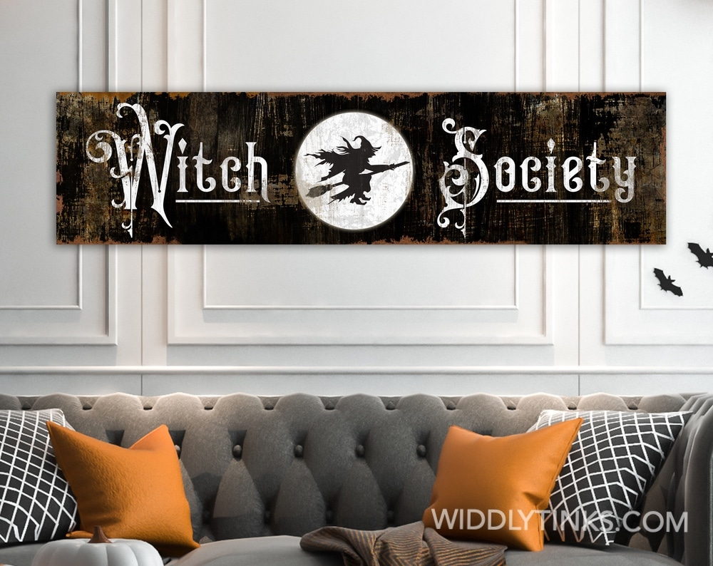 Vintage Halloween Spooky Witch Society Sign